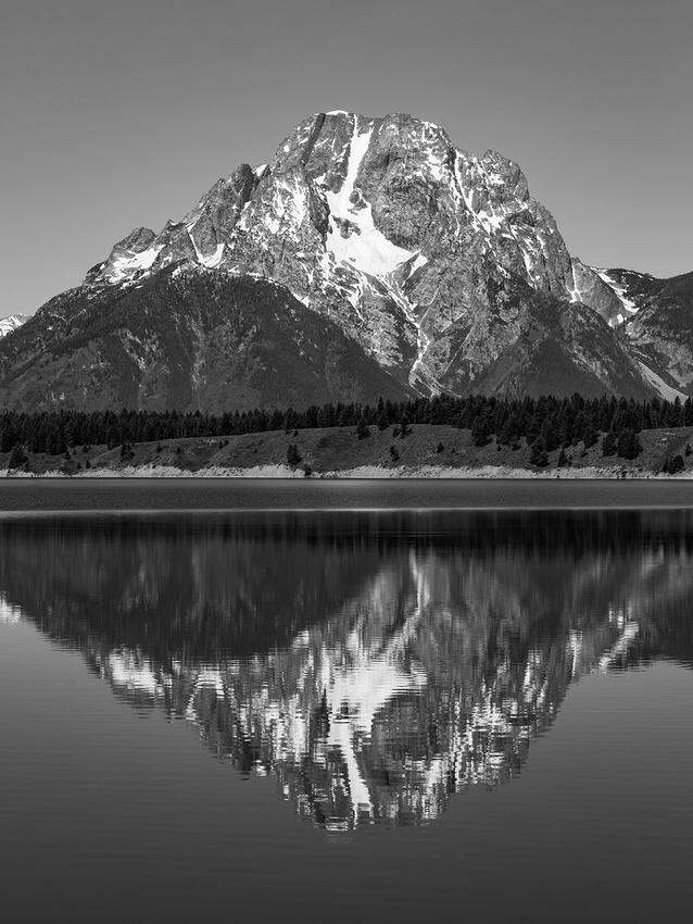 Mt Moran Reflection B/W