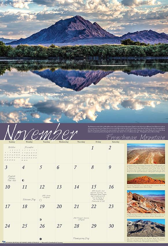 Nevada Bureau of Mines and Geology 2019 Calendar